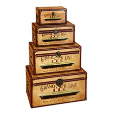 Grand Star Line 4 Piece Wooden Trunk Set