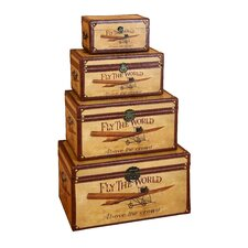 Fly the World 4 Piece Wooden Trunk Set