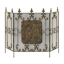 3 Panel Brass Metal Fireplace Screen