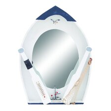 <strong>Woodland Imports</strong> Seaside Nautical Row Boat Mirror Décor