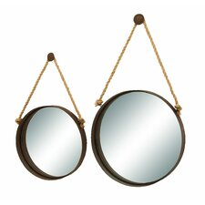 <strong>Woodland Imports</strong> 2 Piece Nautical Ocean Porthole Mirror Set