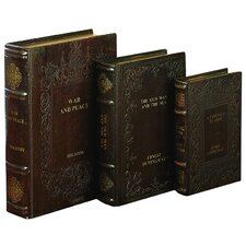 Tolstoy and Hemingway 3 Piece Leather Book Box Set