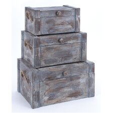 3 Piece Wooden Trunk Set