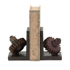 Rusted Gear Themed Polystone Bookends (Set of 2)