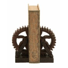 <strong>Woodland Imports</strong> Rusted Gear Themed Book Ends (Set of 2)