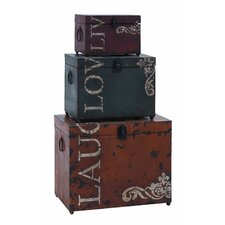 <strong>Woodland Imports</strong> Live Love Laugh 3 Piece Storage Trunk