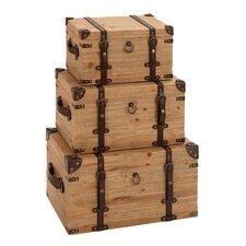 <strong>Woodland Imports</strong> Vintage Look 3 Piece Wood Trunk