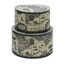 Ancient World Map Round Travel Box (Set of 2)