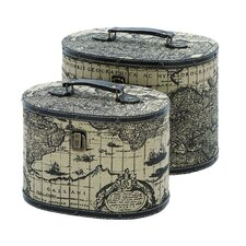 Ancient World Map Oval Travel Box (Set of 2)