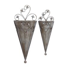 <strong>Woodland Imports</strong> Cone Wall Planter (Set of 2)
