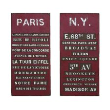 New York and Paris Tourist Destinations Wall Art (Set of 2)