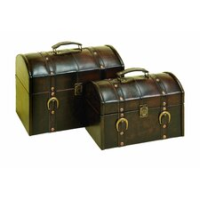 2 Piece Leather Trunk Set