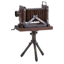 Wood Metal Camera Sculpture