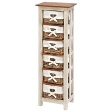 Shabby Rattan Wood 6 Drawer Cabinet