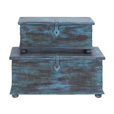<strong>Woodland Imports</strong> Wooden Trunk (Set of 2)