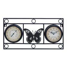 Metal Butterfly Motif Clock Thermometer