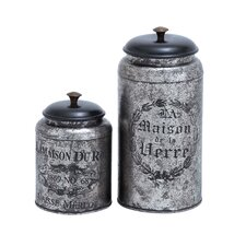2 Piece Metal Jar Set