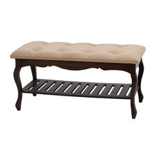 <strong>Woodland Imports</strong> Wood Burlap Bedroom Bench