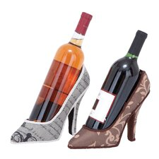 <strong>Woodland Imports</strong> 2 Bottle Tabletop Shoe Wine Holder