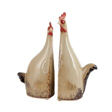 2 Piece Carbonized Rooster Statue