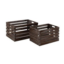 2 Piece Wood Wine Crate Set