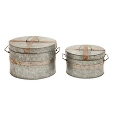 <strong>Woodland Imports</strong> Traditional Round Box (Set of 2)