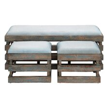 3 Piece Wood Leather Stool Set