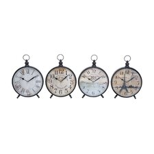 <strong>Woodland Imports</strong> Desk Clock with Round Face for Table (Set of 4)