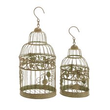 2 Piece Decorative Bird Cage Set