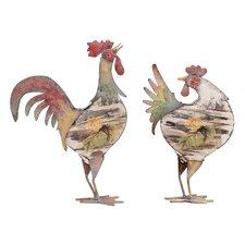 2 Piece Long Lasting Rooster Figurine