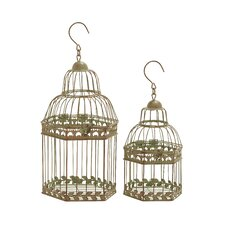 2 Piece Floral Pattern Decorative Bird Cage