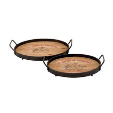Wood and Metal Trays (Set of 2)