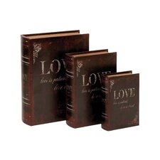 Wooden and Leather Book Box (Set of 3)