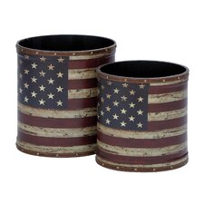 Canvas Trash Can 2 Piece Set