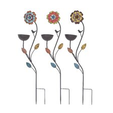 <strong>Woodland Imports</strong> Bird Feed Stake Assorted in Sunflower Design (Set of 3)