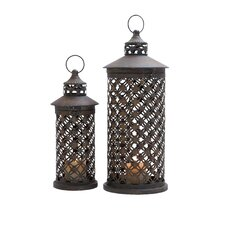 <strong>Woodland Imports</strong> Candle Lanterns (Set of 2)