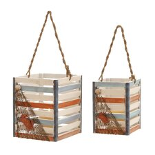 Wood Hanging Lanterns (Set of 2)