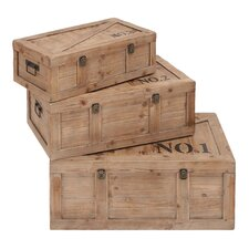 <strong>Woodland Imports</strong> Beautifully Designed Wood Trunk (Set of 3)