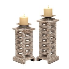 Classy Wood Candlesticks (Set of 2)