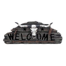 <strong>Woodland Imports</strong> Beautifully Designed Skull Welcome Accented with Ranch Details Wall Décor