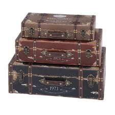 <strong>Woodland Imports</strong> Wood Trunk (Set of 3)