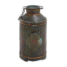 Antique Metal Old Milk Can Sculpture