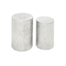 <strong>Woodland Imports</strong> 2 Piece Aluminum Decorative Stool