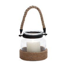 Glass and Rope Metal Lantern