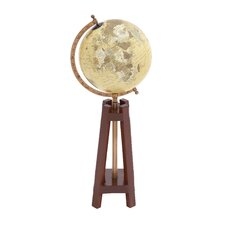 Wood and Metal Globe with Meridian
