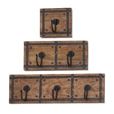 3 Piece Rustic Wood and Metal Coat Rack Set