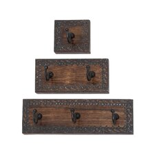3 Piece Wood and Metal Coat Rack Set