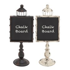 "Metal Wood 1' 9"" x 8"" Chalkboard (Set of 2)"