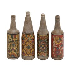 4 Piece Hand Painted Terracotta Bottle Figurine Set