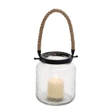 Vintage Canning Jar Glass and Rope Lantern